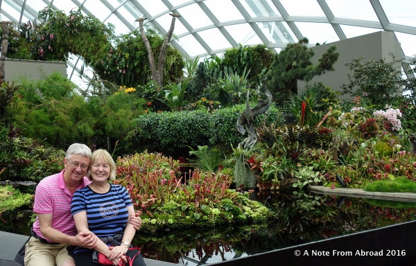 Tim and Joanne beside one of the water features inside the cloud forest