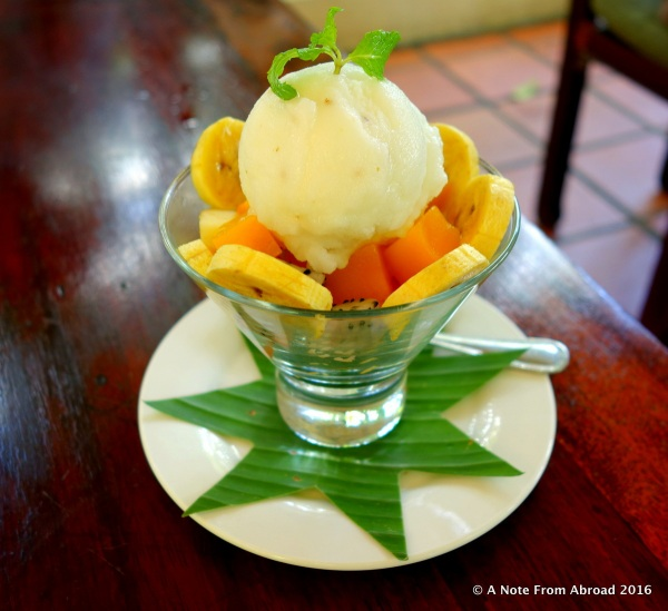Fresh fruit and lime pepper sorbet