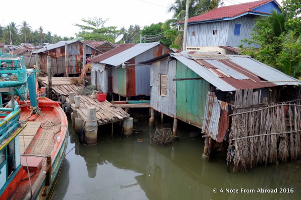 Homes along the water's edge on the way to Sihanoukville