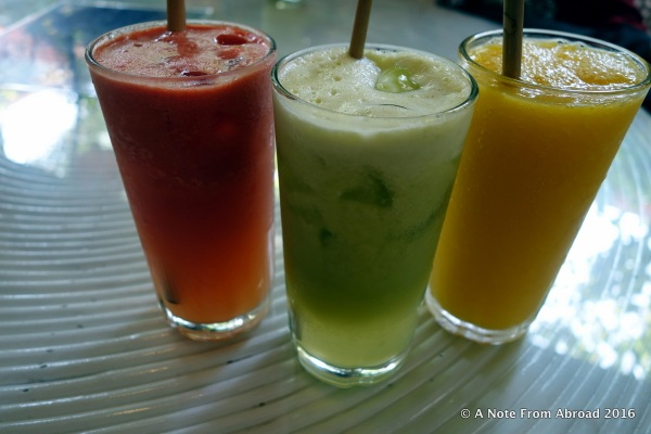 Several different fruit drinks were offered