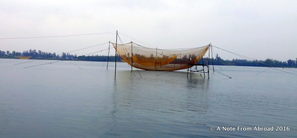 "Large fishing net in the ""up"" position"
