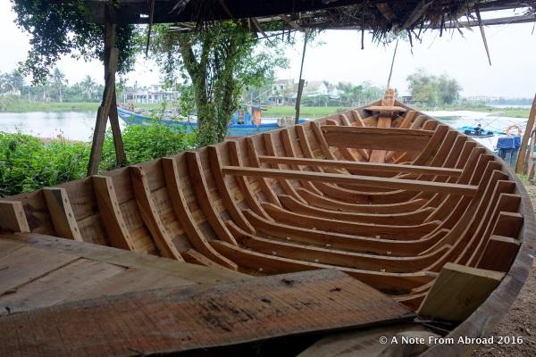 Mahogany boat made by hand