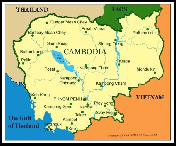 Map showing location of Battambang in the Northwest portion of Cambodia