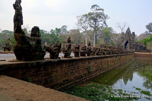 One of five main bridge entry points to Angkor Thom