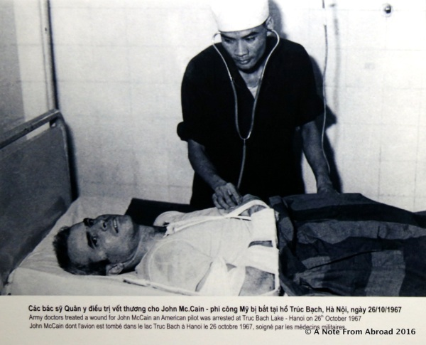 John McCain being treated for his injuries while a POW here