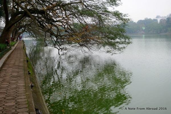 Along the shore of Hoan Kiem Lake
