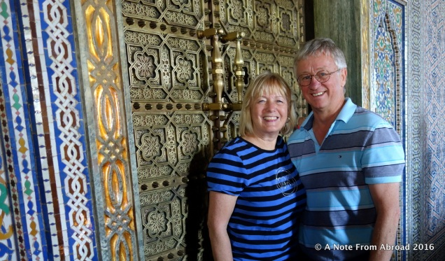 Tim and Joanne at the Mausoleum of Mohammed V, Rabat, Morocco