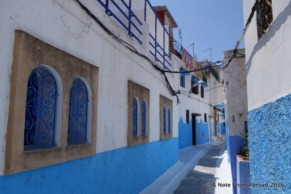 Blue and white street/alleyway at the Kasbah