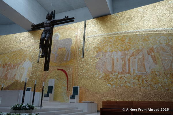 Inside the newer, modern chapel at Fatima