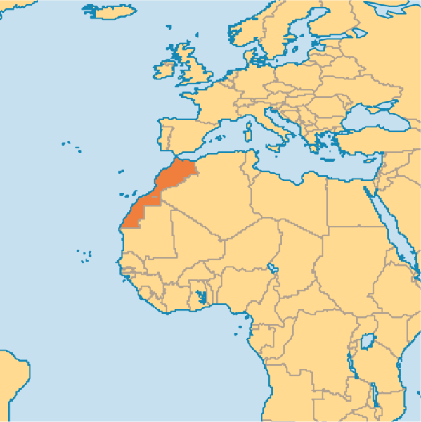 Map of the North part of Africa. Morocco is shown in red