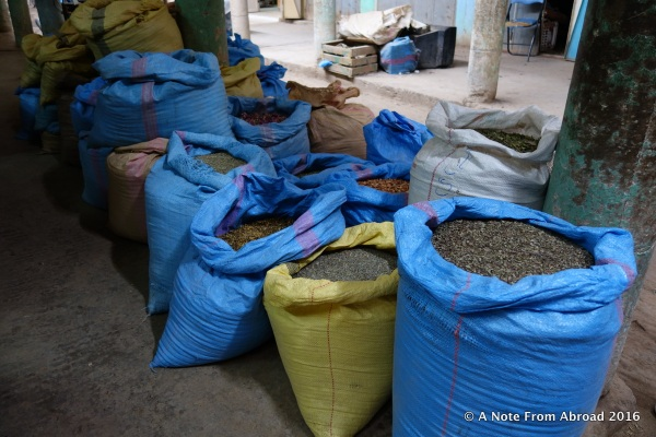 Sacks filled with grains in the marketplace