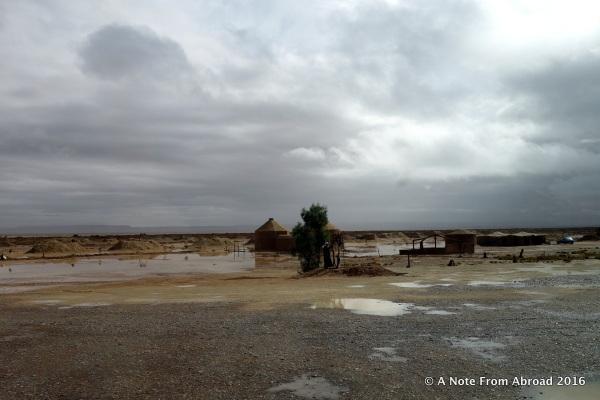 Water pooling across the desert