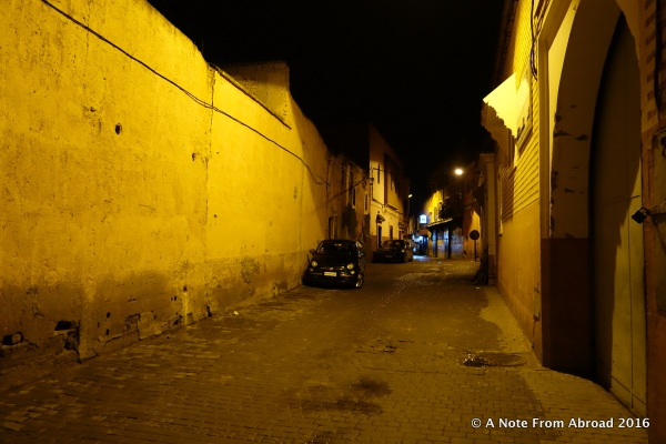 The back streets of the medina were deserted and dreary in the night rain.