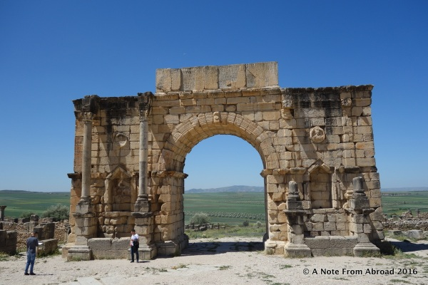 Partially restored ruins at Volubilis
