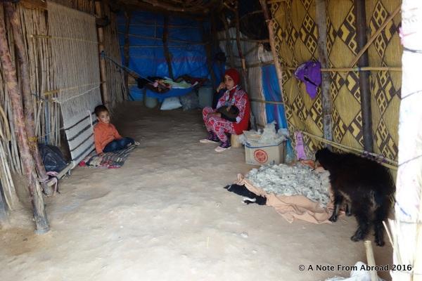 Interior of Berber tent