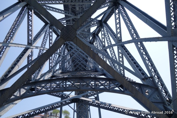 Crossing on the Luis I Bridge designed by Eiffel