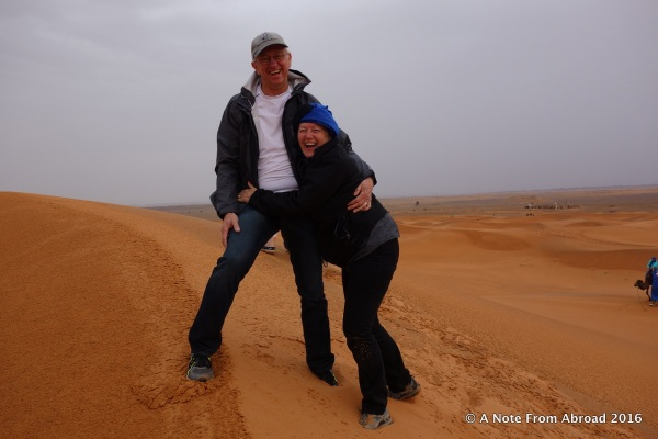 Climbing to the top of the sand dunes