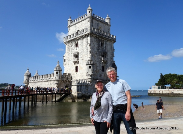 Tim and Joanne in front of Belem Tower