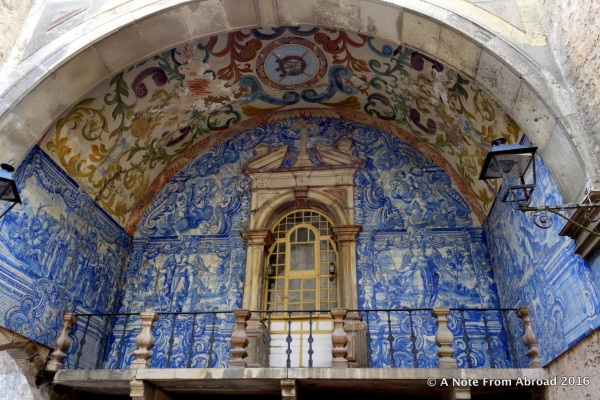 Azulejo (painted tin-glazed tile work) at main entry gate of Obidos