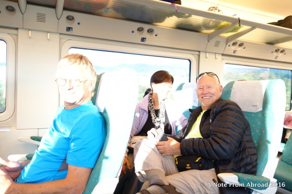 Tim, Karen and Dick on the train ~ sorry this is so washed out :(