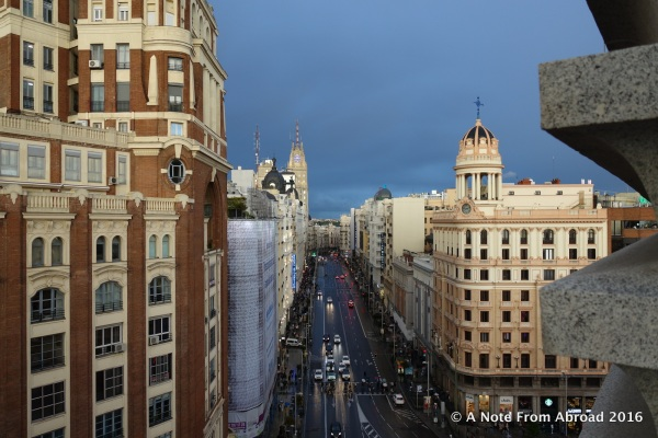View from our balcony and what I looked at most of our week in Madrid