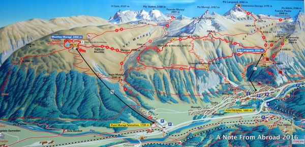 Map shows several trails you can take from the top of the funicular. We choose the Panorama Trail.
