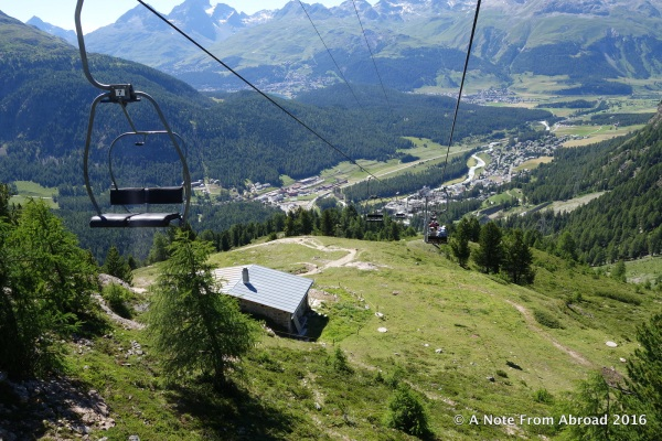 Taking the chair lift down to the valley