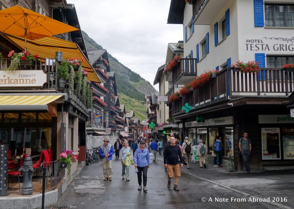 The main street through Zermatt that leads to the train station