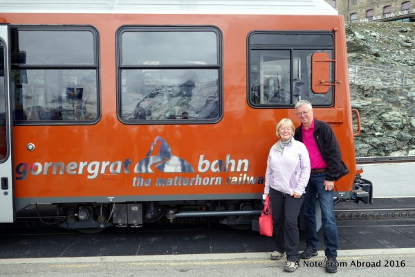 Tim and Joanne with the Gornergrat Bahn train