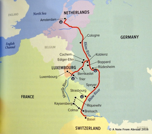 Route of our river cruise on the River Queen