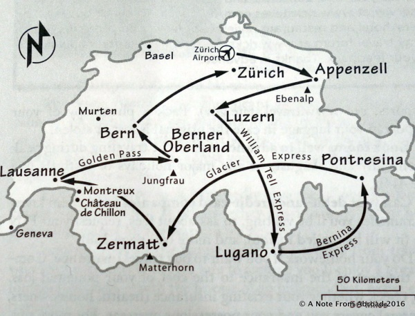 This is the train route we are following from Zurich