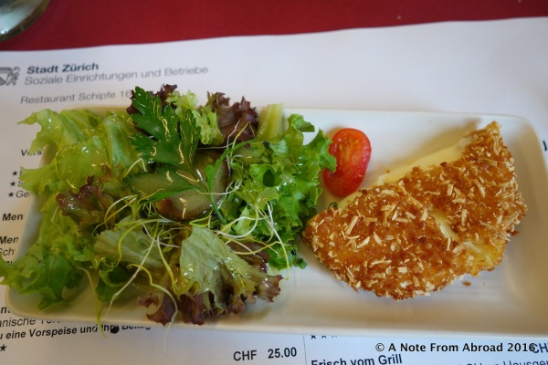 Baked cheese and salad appetizer