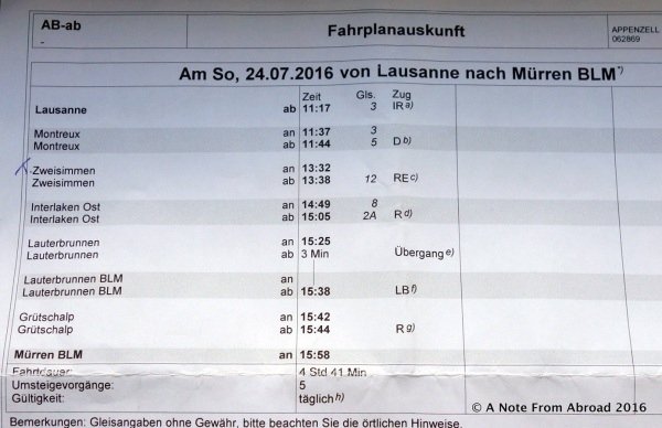 Multiple connections to get from Lausanne to Murren