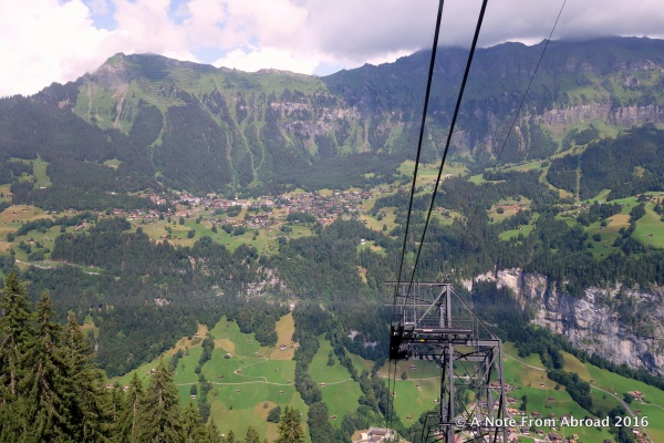 Taking the cable car up the mountain