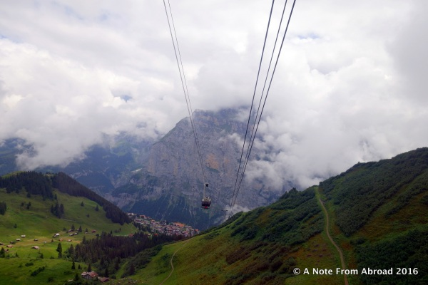 Going up the cable car. Not too bad down in the valley.