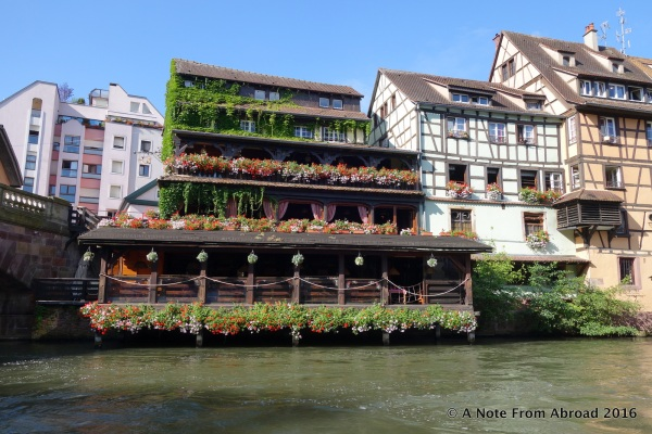 Flower boxes were overflowing along the river