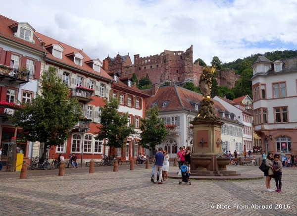 Heidelberg, Germany - Main square (Corn Market) with the castle up on the hill