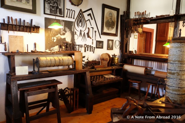 Workshop where musical instruments were restored