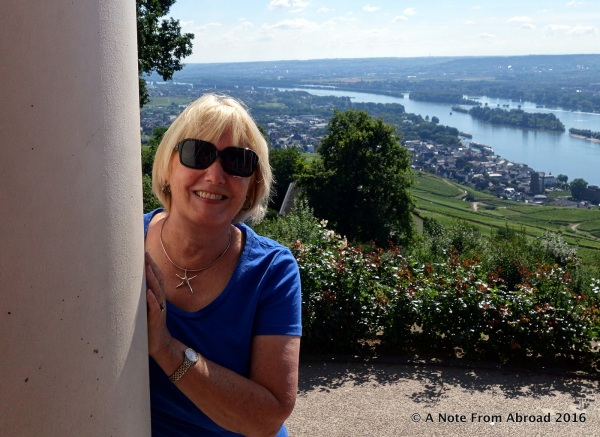 Joanne with the Rhine River in the background