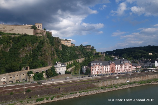 Ehrenbreitstein Fortress sits on the hill across the Rhine from Koblenz