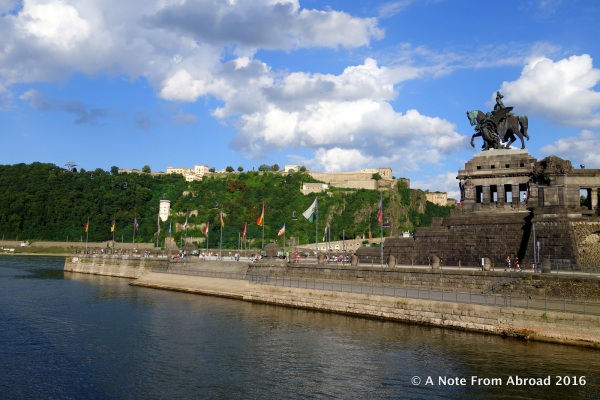 Cruising past the German Corner where the Rhine and Moselle meet