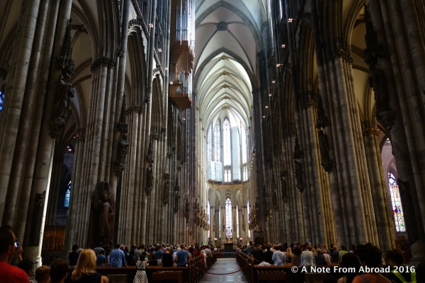 Interior of Cologne Cathedral during a service