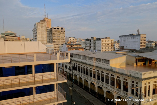 Guayaquil, view from our room at Hotel Oro Verde