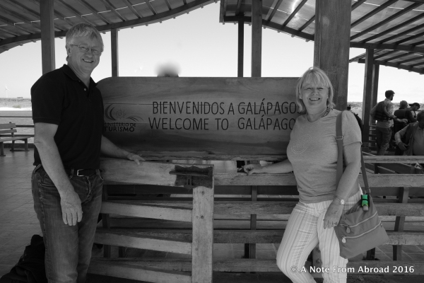 At the dock upon arrival in the Galapagos Islands