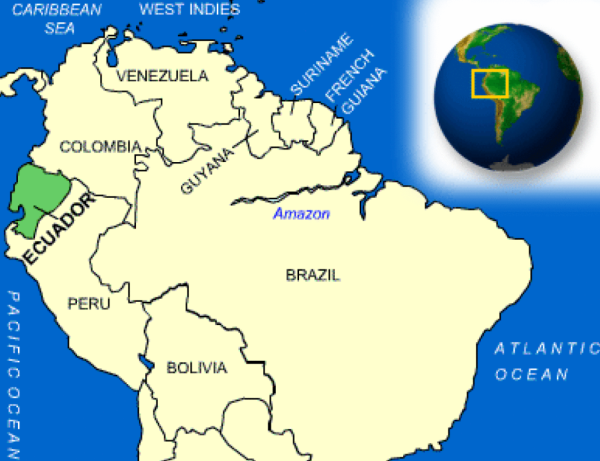 Partial map of South America showing location of Ecuador