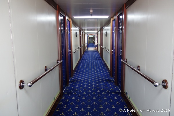 Long hallways with nautical carpeting
