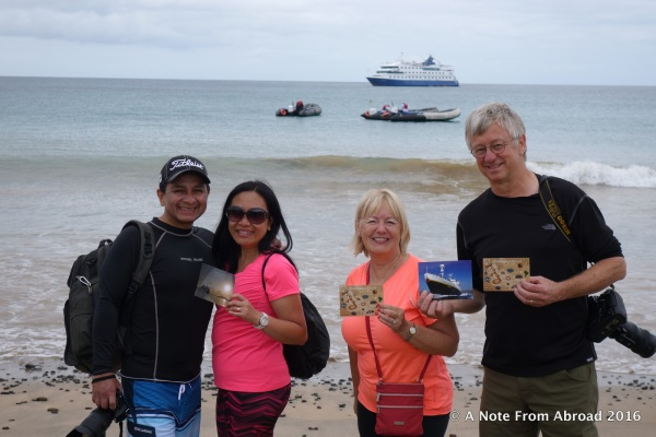 Fred, Rica, Joanne & Tim with postcards to deliver stateside
