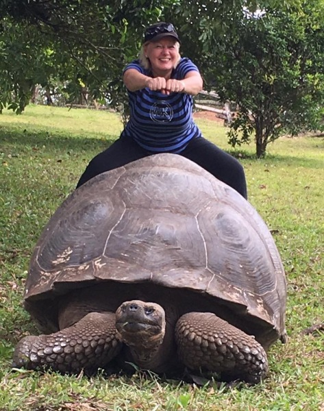 Joanne and a Giant Galapagos Tortoise
