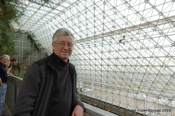 Tim inside the Biosphere