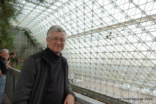 Tim inside the Biosphere